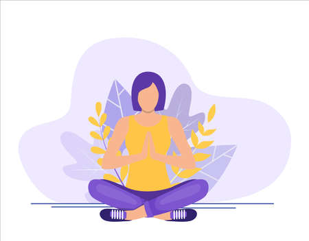 Young woman sitting in yoga lotus pose  イラスト・ベクター素材
