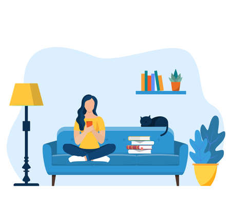 Young girls using phone, sitting legs crossed Illustration
