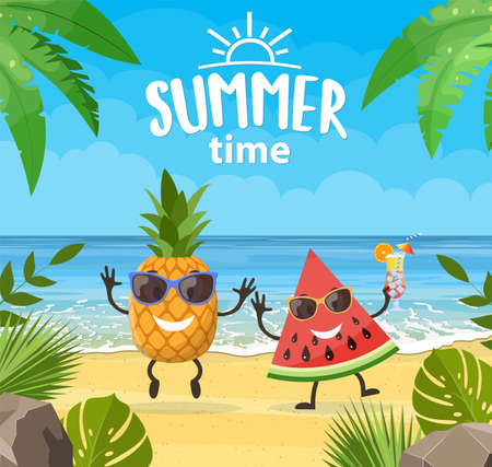 Funny summer banner with fruit characters.
