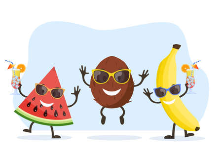 Cute and funny Coconut character Stock Illustratie