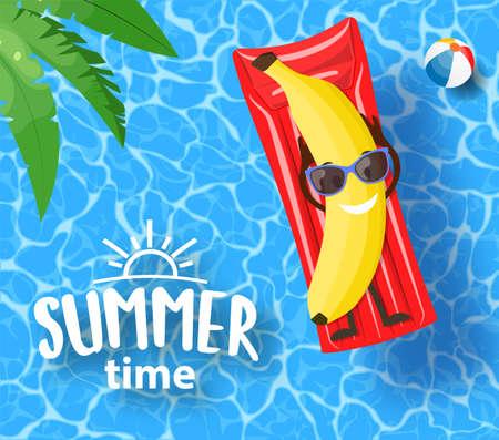 banana lying on mattress, over water