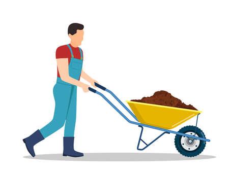 Man with wheelbarrow full of dirt or ground.