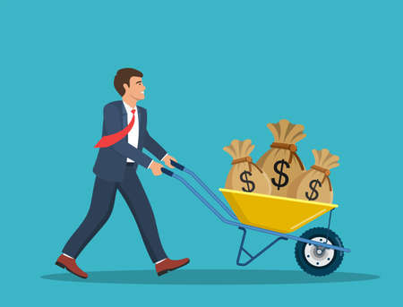 Businessman push cart with money bags.