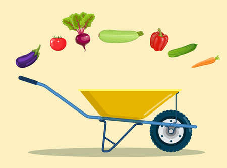 Garden cart with peppers, tomatoes