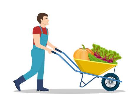 Farming man pushing wheelbarrow Illustration