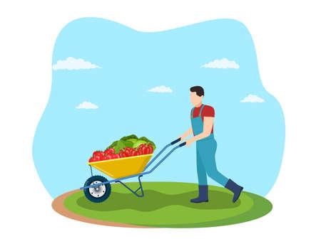 Farming man pushing wheelbarrow Vectores