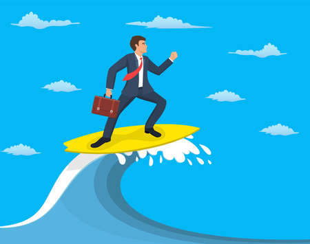 Businessman surfing on wave, Business concept Vectores
