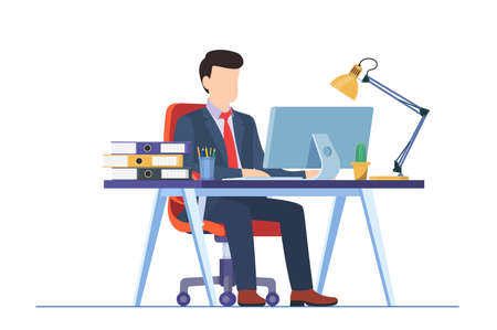 business man working on computer at the desk in office