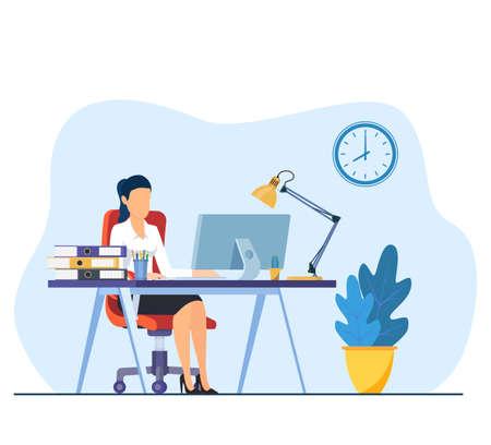 businesswoman working on computer Vecteurs