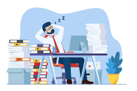Business man is sleeping at his workplace