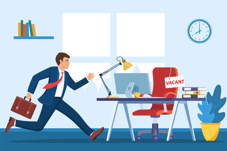 Office chair, sign vacancy. Employee and table with office items. Hiring and recruiting. Human resources management, searching professional staff work. Illustration in flat style
