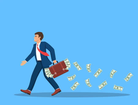 businessman with a full briefcase of money  イラスト・ベクター素材