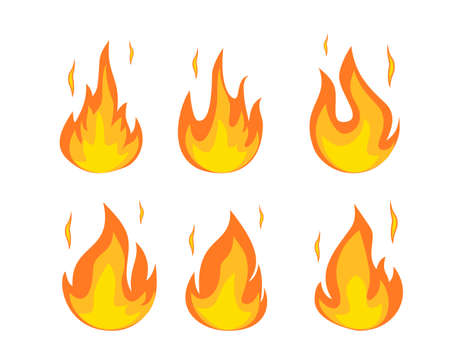 Cartoon fire flames set.  イラスト・ベクター素材
