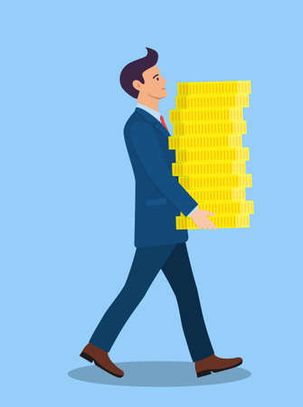 businessman carries big stack of gold coins money.