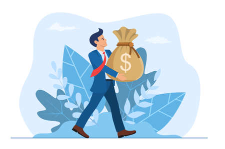 Businessman holding large bag full of money.  イラスト・ベクター素材