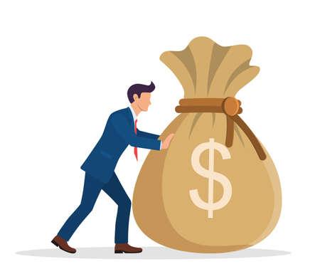 Businessman pushing large bag full of money.  イラスト・ベクター素材