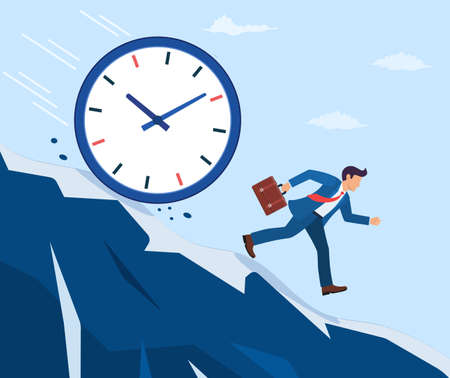 Businessman run away from the big clock.