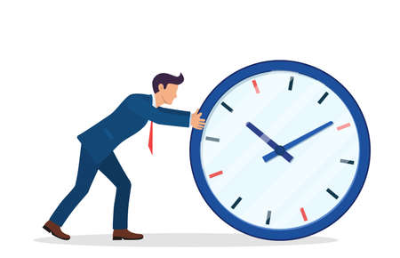 Businessman pushing big clock.