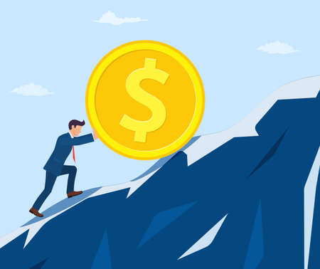 businessman pushing big coin up hill  イラスト・ベクター素材