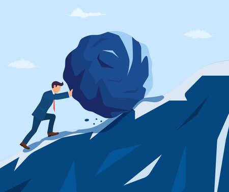 Businessman pushing huge stone Ilustração Vetorial