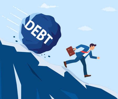 Businessman on mountain running away from big debt