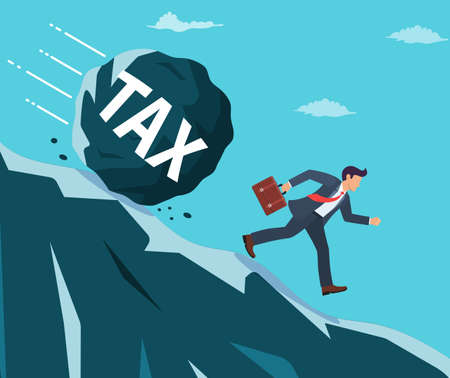 Businessman on mountain running away from big tax