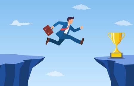 businessman jump through the gap in the rocks.
