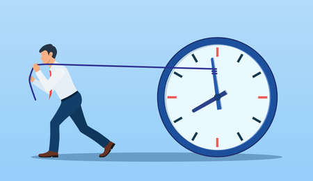 Businessman trying to slow down and stop time