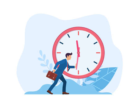 businessman is trying to stop time.  イラスト・ベクター素材