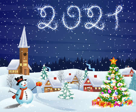 house in snowy Christmas landscape at night Ilustração Vetorial