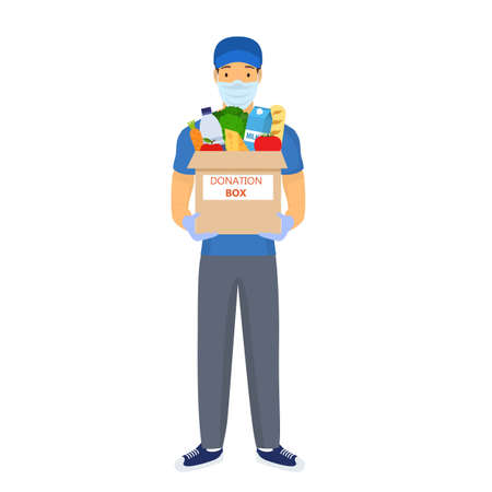 man carries a box of food.