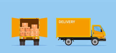 Delivery truck isolated on blue background.