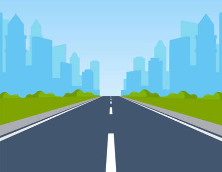 Road way to city buildings on horizon