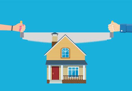 Property division. End of marriage. Ilustración de vector