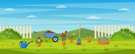 garden with green grass, Ilustracje wektorowe