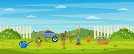 garden with green grass, Vektorové ilustrace