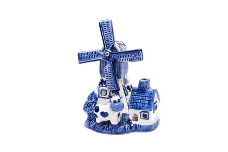 delft: Holland Vintage Blue Delft Porcelain Windmill souvenir