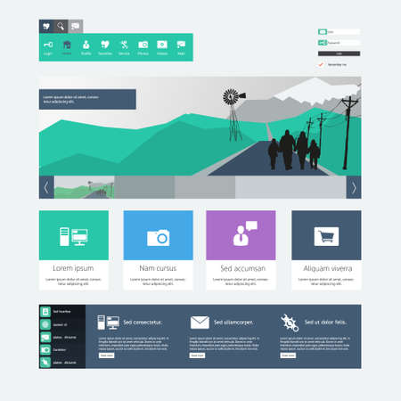 page layout: Flat Web Design Template.