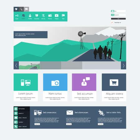 web site design template: Flat Web Design Template.