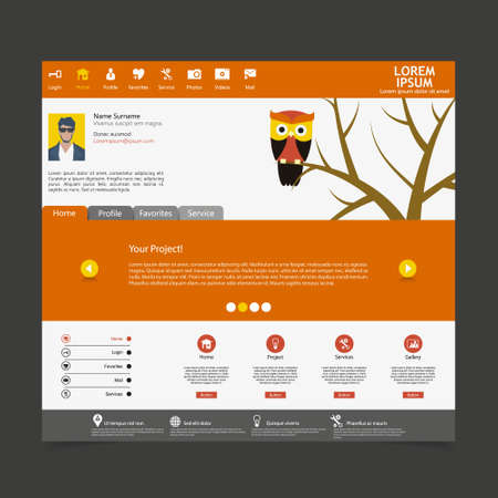 Flat Web Design Template with owl illustration