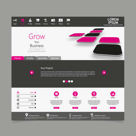 submenu: Website template in editable vector format