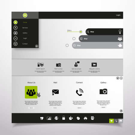 Website Design Template. Professional Minimal Theme, Vector illustration. Vector