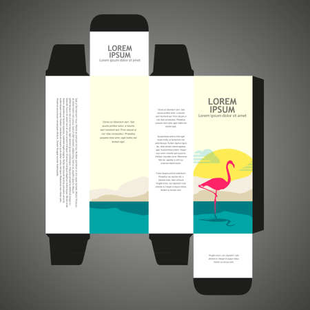 Perfume box design with flamingo illustration Vector
