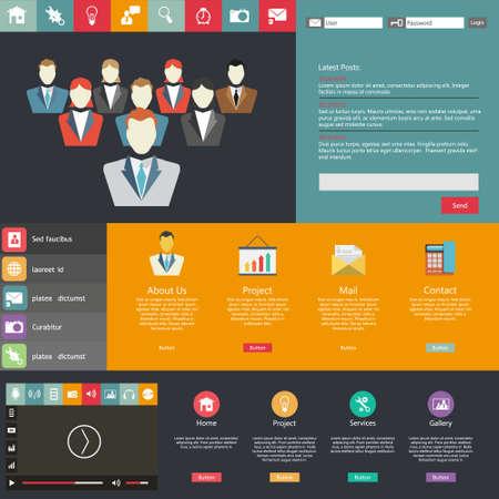 teamleider: Flat Web Design elementen. Templates voor website. met teamleider illustratie Stock Illustratie