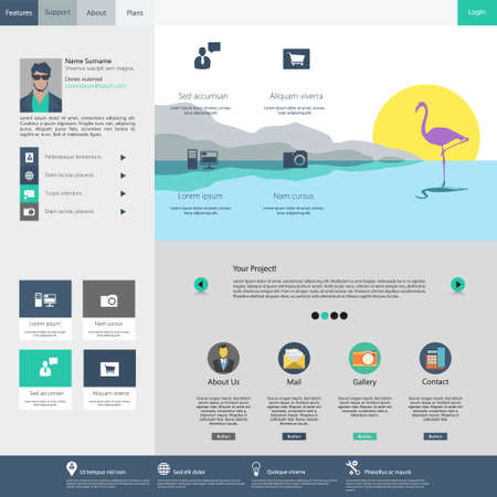 web: Flat Web Design Template.