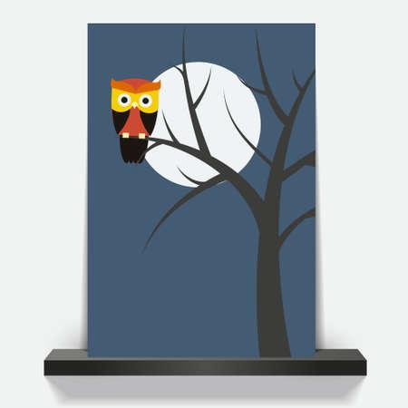Cover and flyer design cartoon owl. Vector