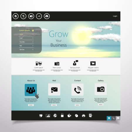 website template: Website template Vector. with photorealistic sunrise, sea illustration.