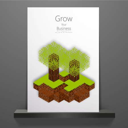 3d art: Abstract pixel mosaic 3d art, Professional printable Eco cover design Illustration