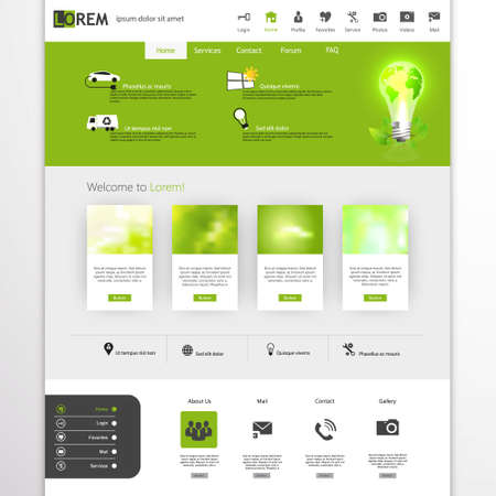 submenu: Eco Style Web Design, elements, buttons, icons. Templates for website.