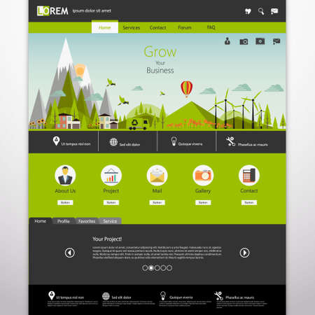 website header: Modern Eco website template with flat eco landscape illustration Illustration